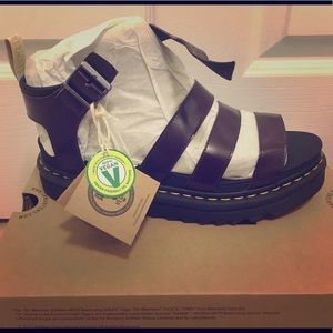 Dr. Martens Vegan Blaire Sandals in Wine